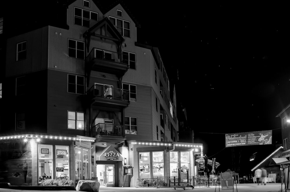Keystone Resort at Night in Black and White
